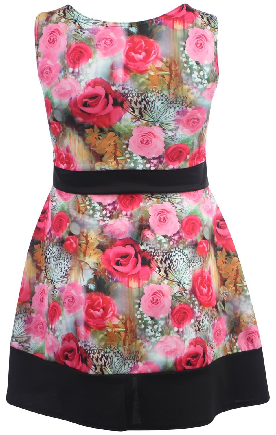 9572dc4a02 New Ladies Curve Summer Floral Prints Pleated Bow Skater Dress 16-22 ...