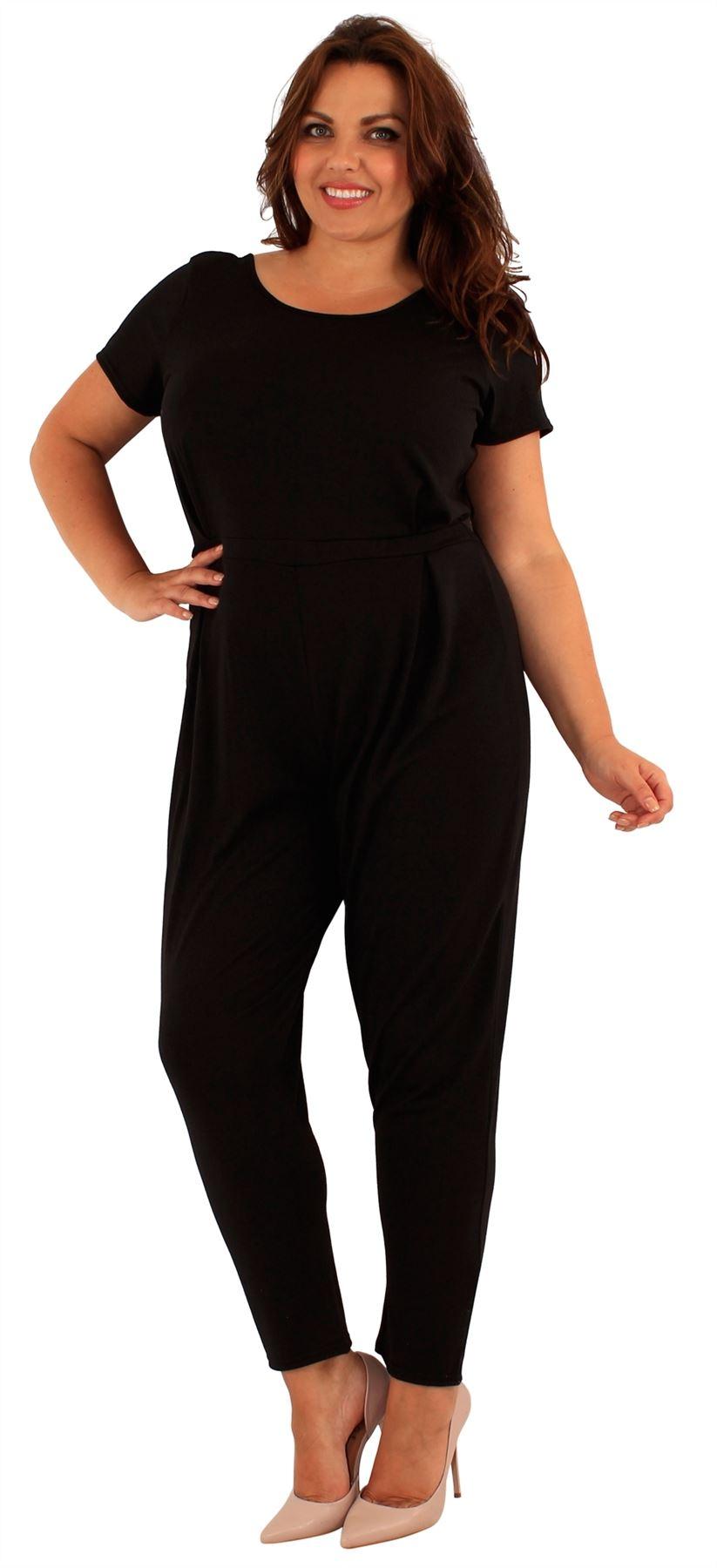 new womens plus size short sleeve one piece jumpsuit dress. Black Bedroom Furniture Sets. Home Design Ideas