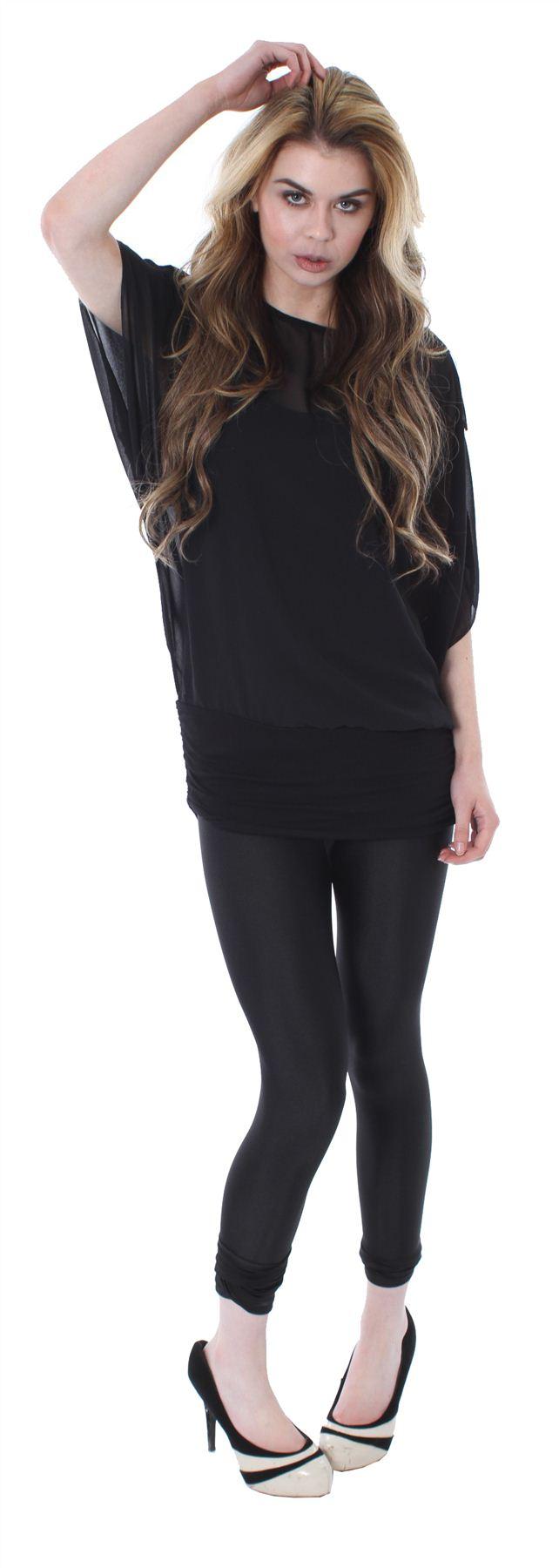 New-Womens-Plus-Size-2-In-1-Jersey-Chiffon-Batwing-Tunic-Tops-8-26