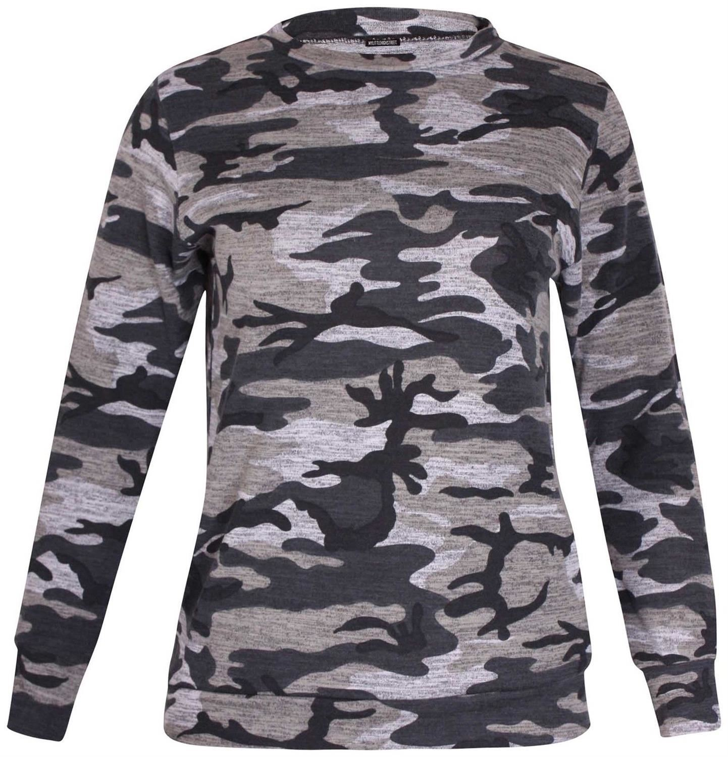 New-Womens-Plus-Size-Army-Sweatshirt-Top-Jogging-Bottom-Tracksuit-Set-16-28 thumbnail 3