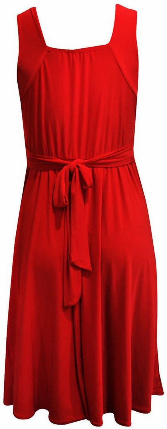 New Womens Plus Size Buckle Tie Back Cocktail Knee Length Party Dress 8-26