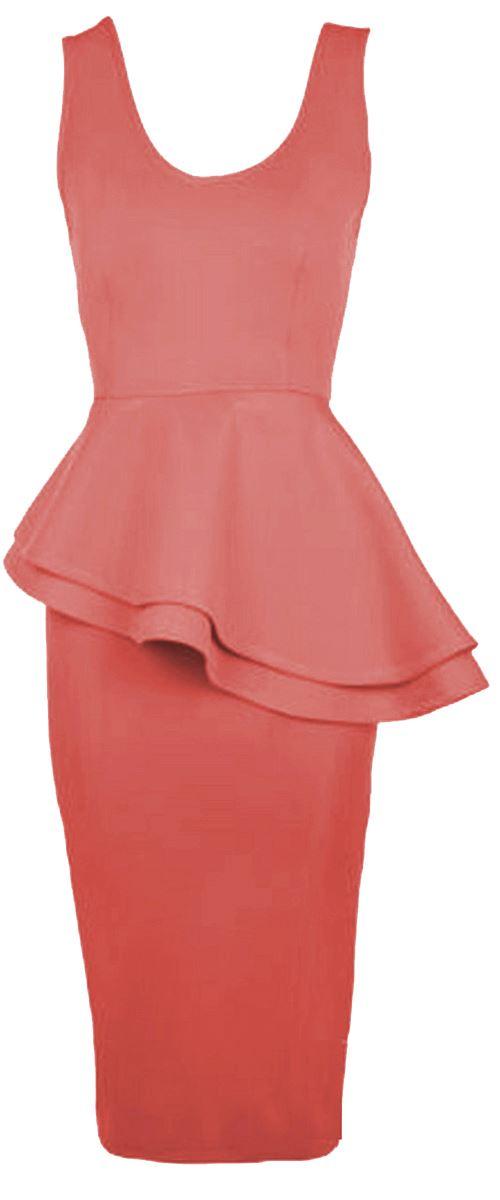 New Womens Plus Size Two Layered Waisted Peplum Midi Bodycon Dress 8-26