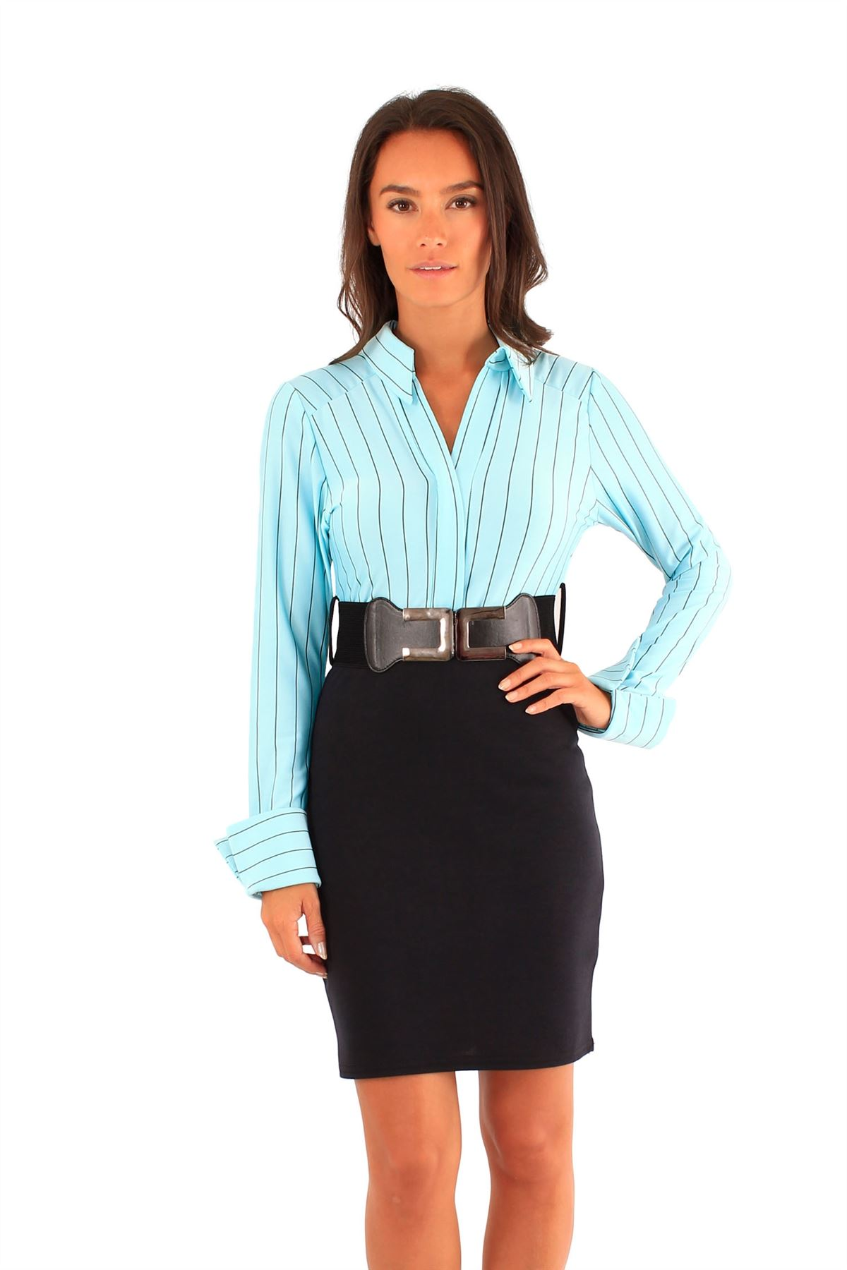 New Ladies 2in1 Office Wear Dress Belated Stripy Skirt Mini Skirt ...