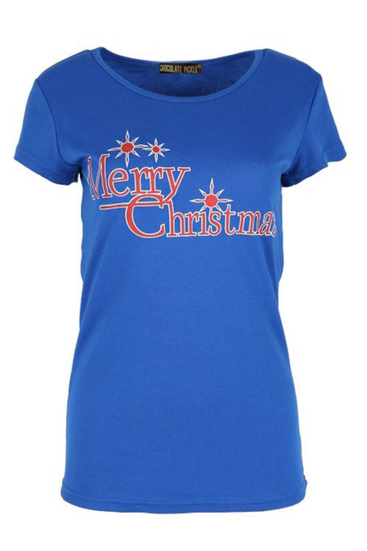 New womens plain merry christmas star print x mass t for Plain t shirts to print on
