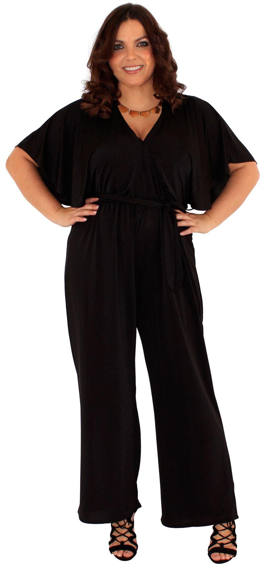 New Women Plus Size Bleated Wrap Palazzo Jumpsuit Dress 16-26 | EBay