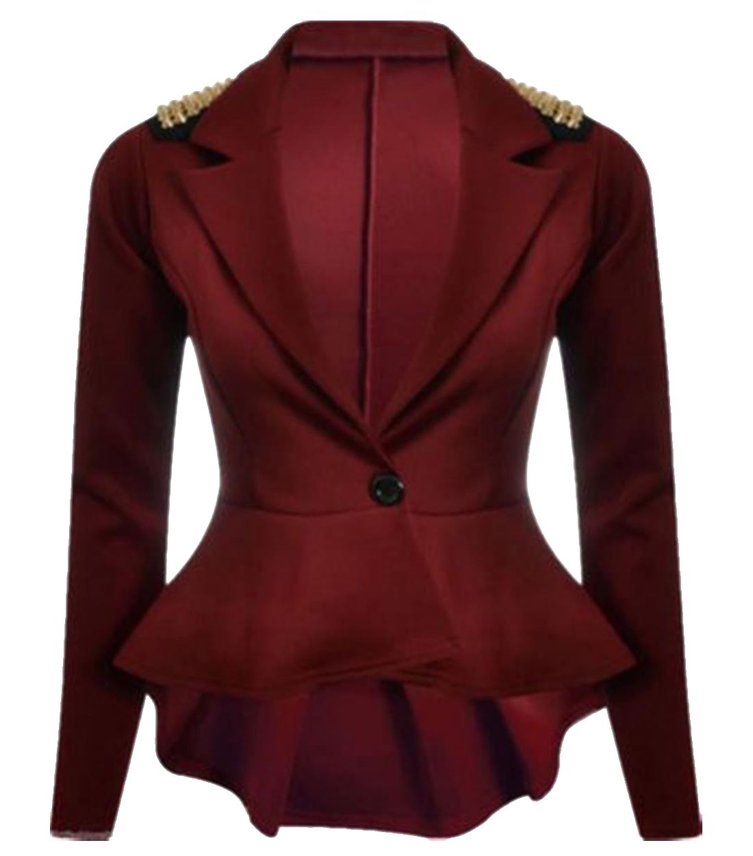 New Womens Spikes Studded Crop Peplum Frill Blazer Single Button ...