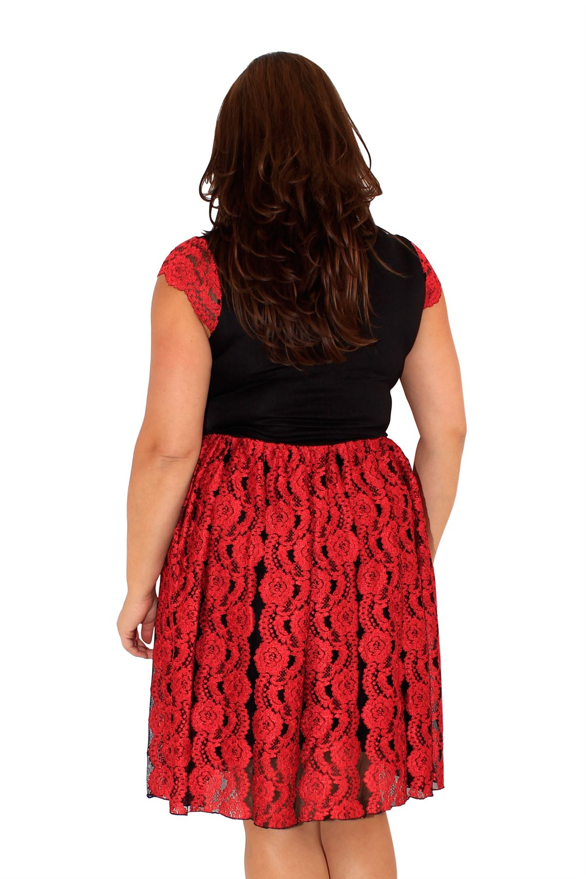 New Womens Plus Size Lace Detail Evening Skater Dress 14