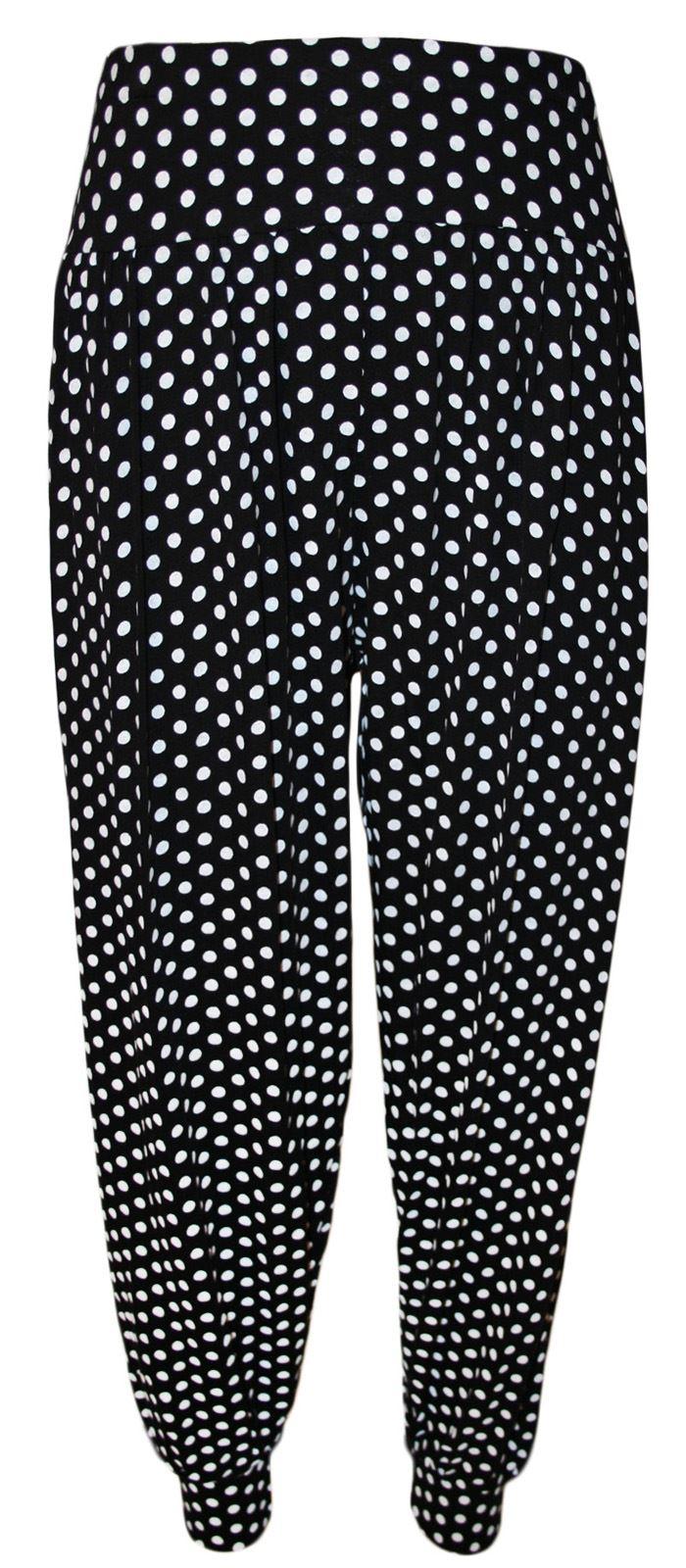 Polka-dot print Adjustable elastic waist Twin side pockets.