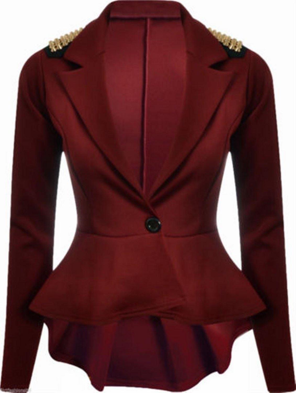 New Womens Plus Size Gold Studded Peplum Blazer Jacket Womens Spike Jacket 4-20