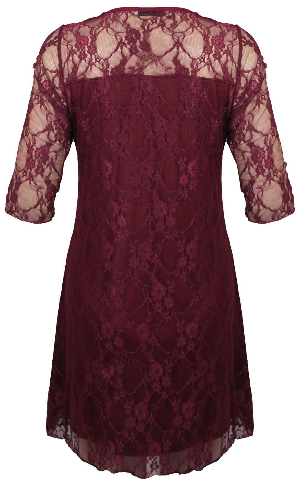 New Ladies Plus Size Contrast Colored Lace Lined Party Dress 14-28