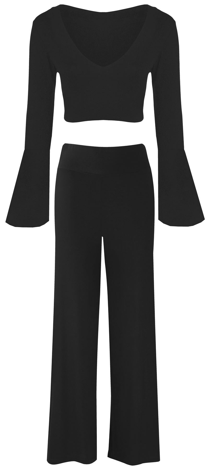 New Ladies Bell Sleeve Wrap Top Wide Leg Palazzo Pant Suits 8-14