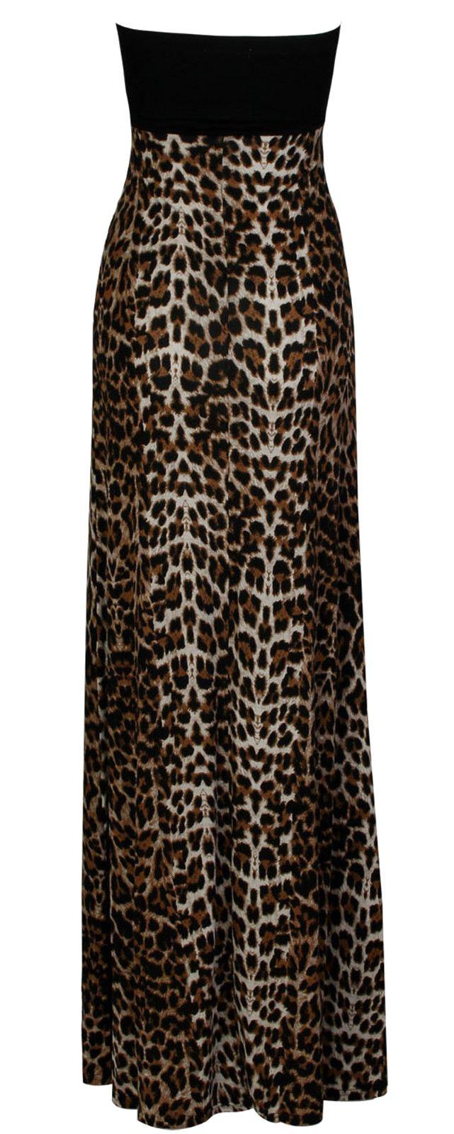 New-Womens-Plus-Size-Grecian-Boob-Animal-Print-Long-Maxi-Dress-8-26