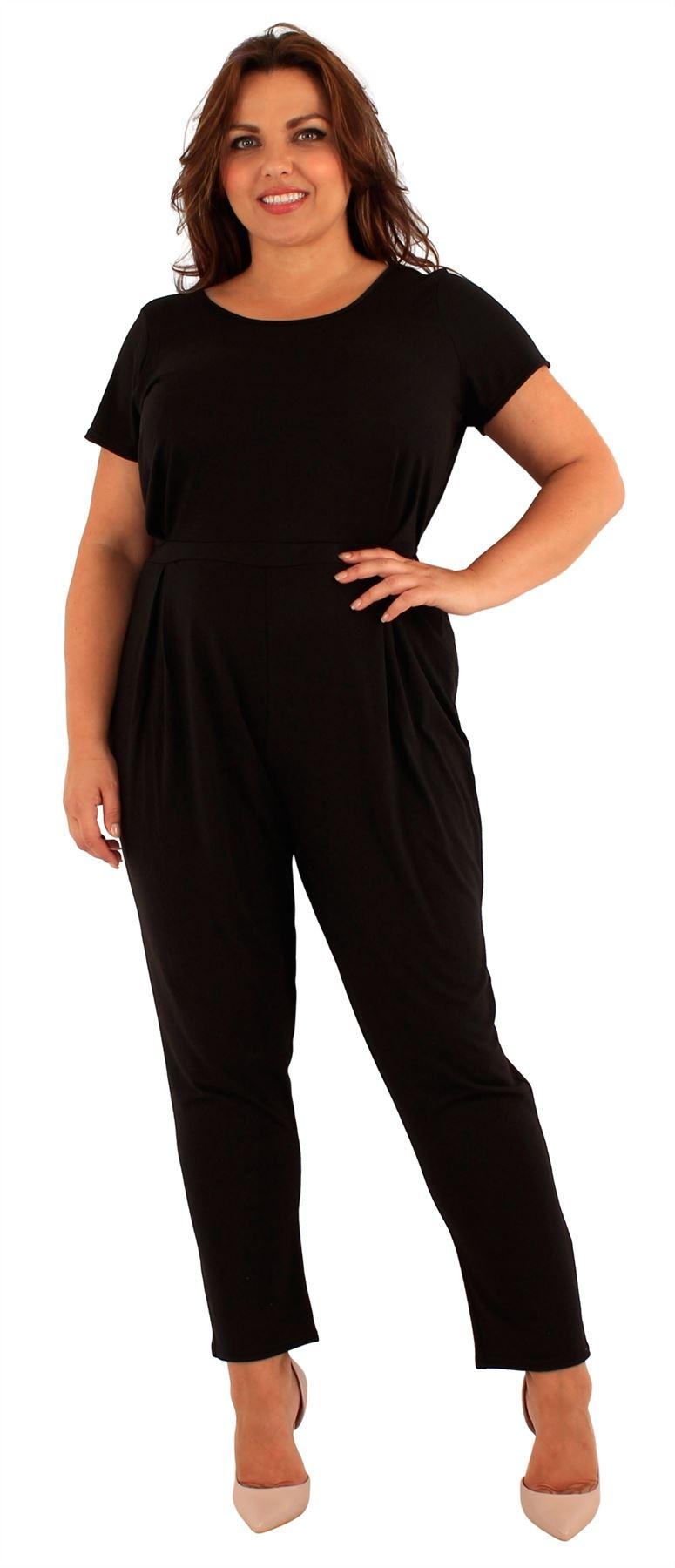 New Ladies Plus Size Cap Sleeve Black Jumpsuit Dress 18 24 Ebay