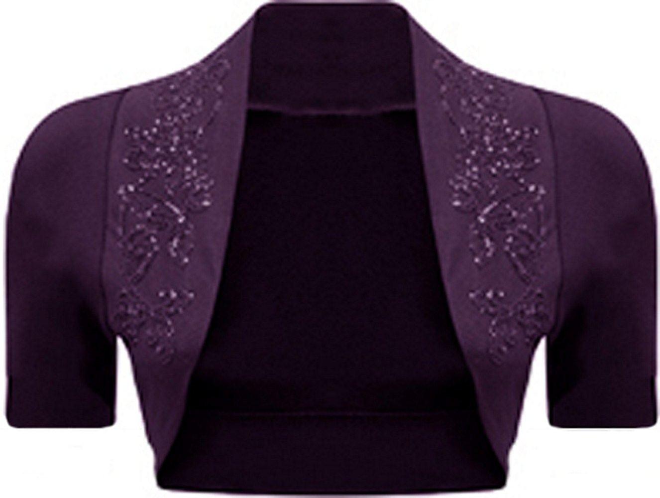 Neue Damen Plus Größe Kurzarm Bolero Cardigan Crop Top 36-54