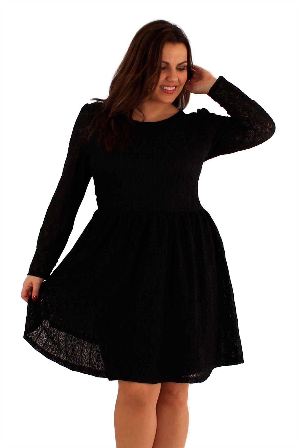 New Ladies Plus Size Long Sleeve Lace Skater Dress 14 20 Ebay