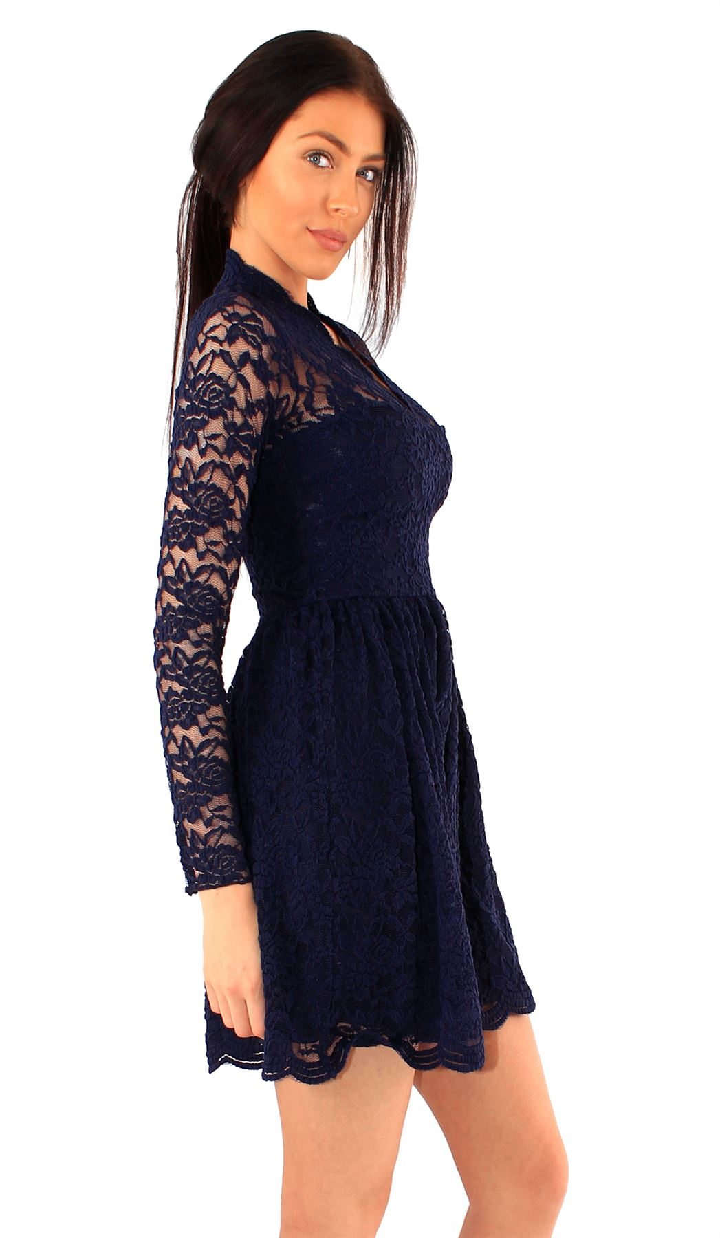 Details About New Womens Long Sleeve Scallop Lace V Front Skater Dress 4 20