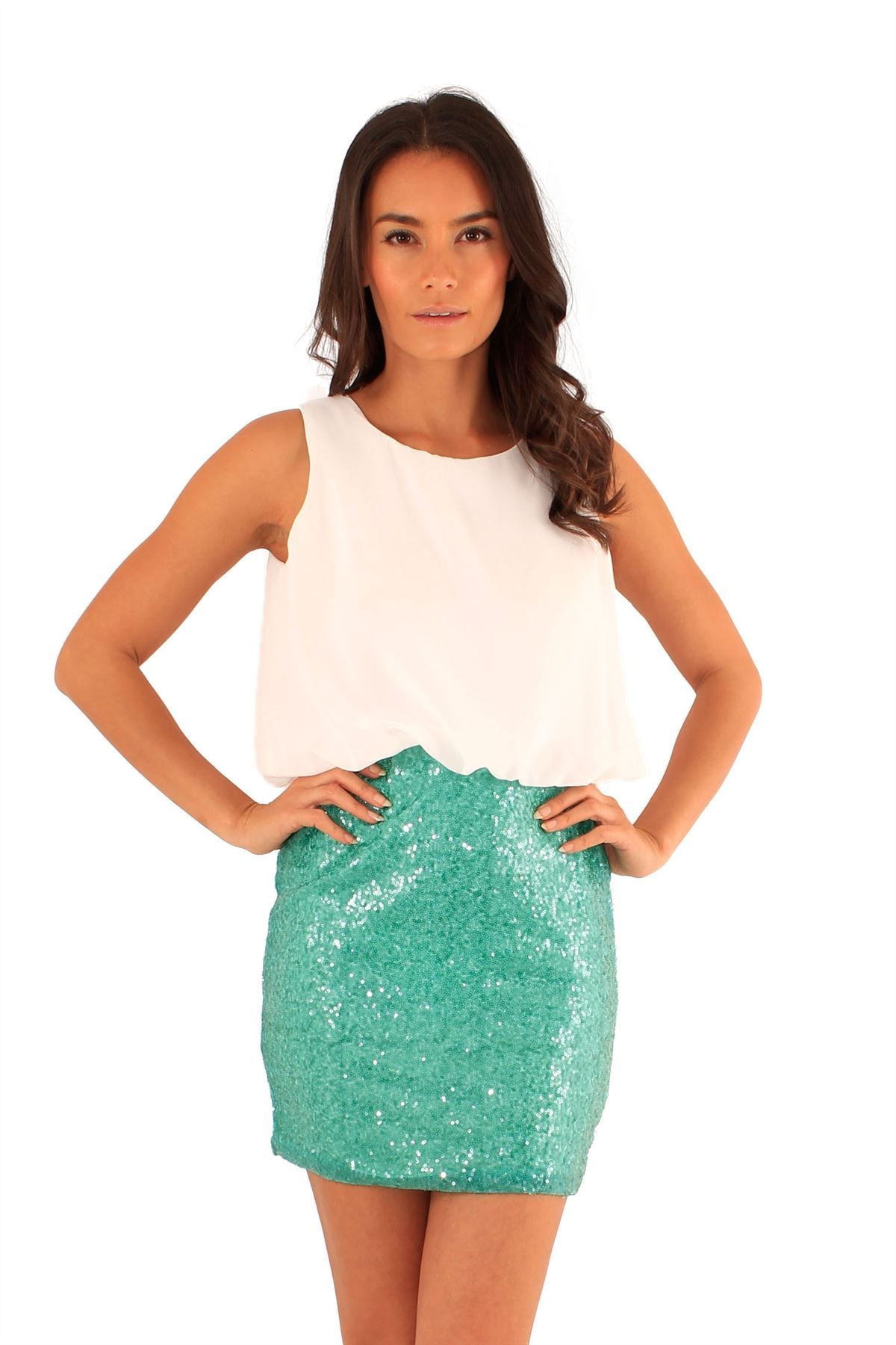 New Womens Sequins Mini Skirt 2 In1 Chiffon Party Dress