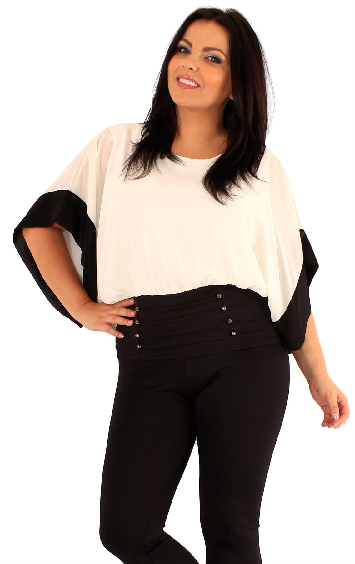New Ladies Plus Size Corset Batwing Sleeve Two Tone Colored Chiffon Tops 18-24
