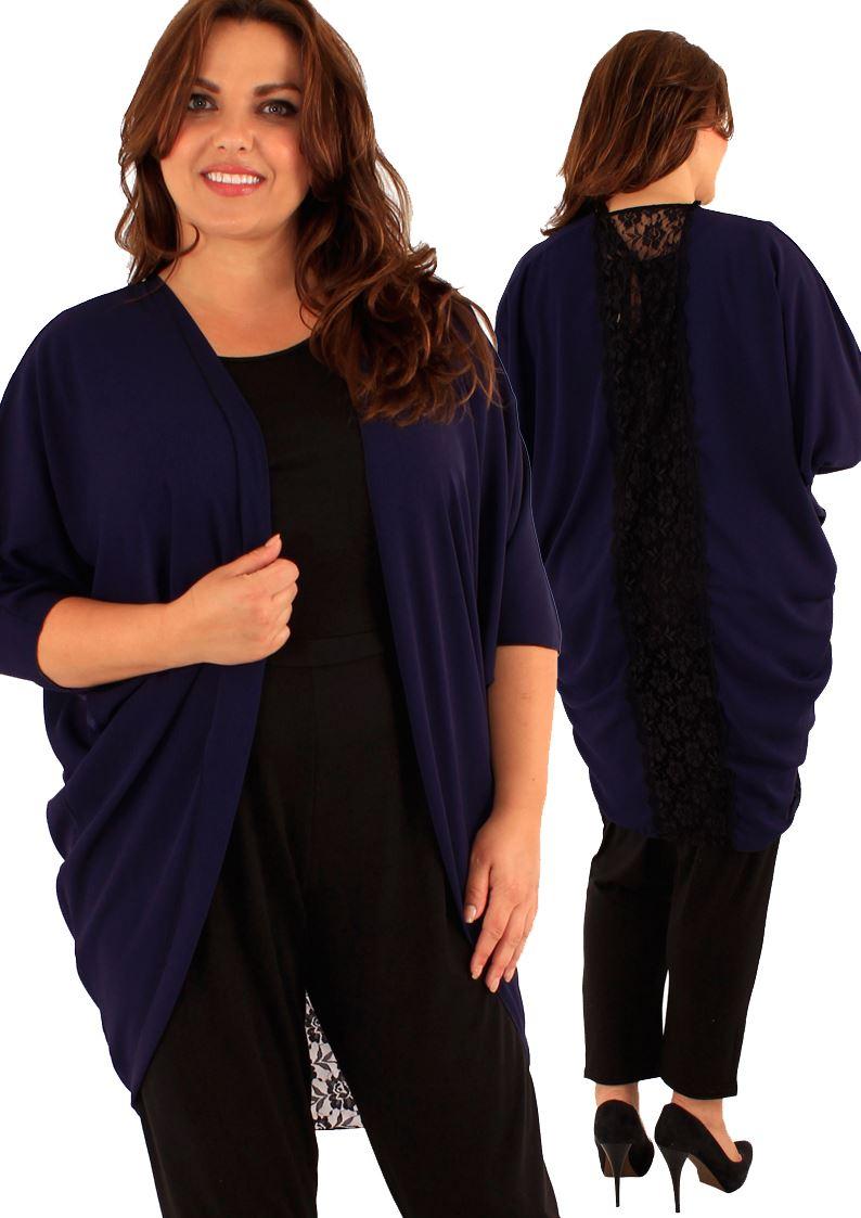 New Ladies Plus Size Floral Lace Back Long Kimono ...