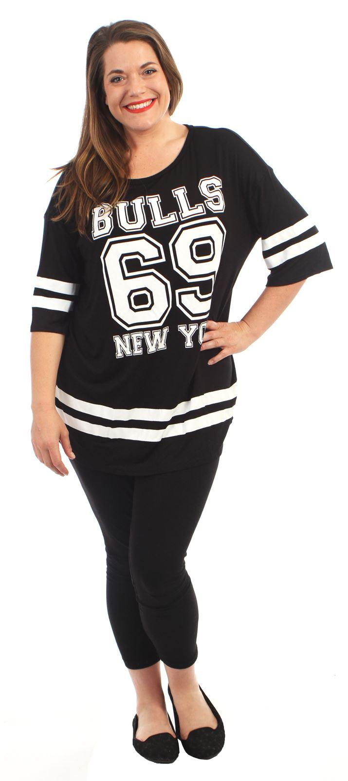 Neue Frauen Over Größe Varsity 69 Stiere Baggy T-Shirt Oberteile 40-54