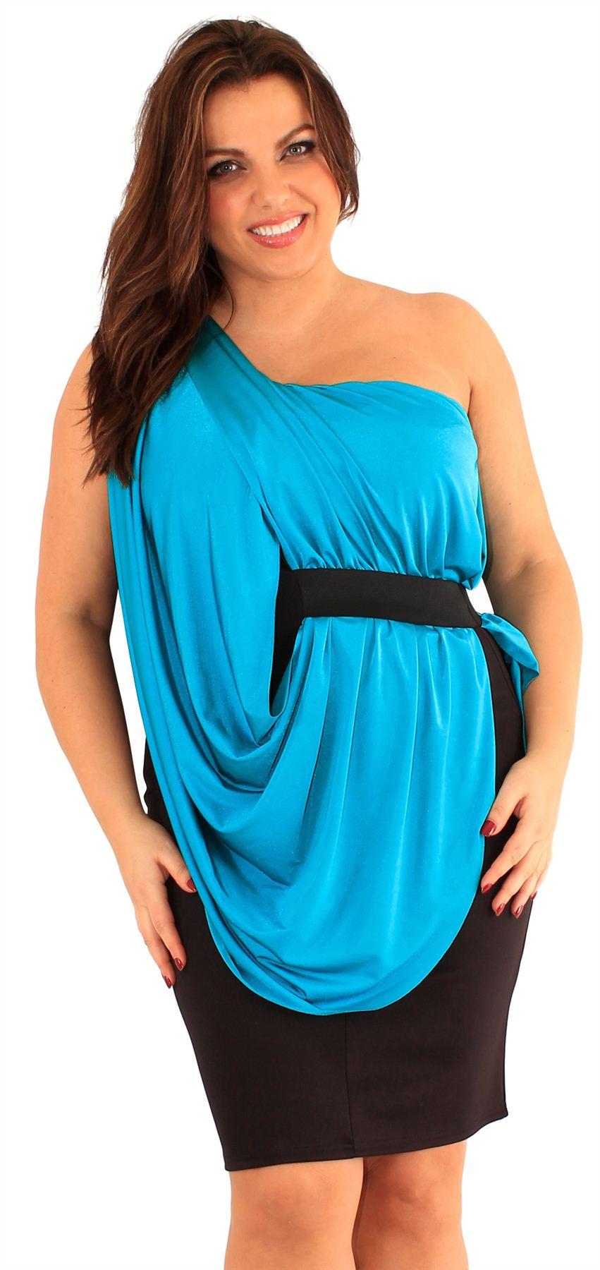 nouveaux femmes grande taille one shoulder drape robe de soir e bodycon 46 52 ebay. Black Bedroom Furniture Sets. Home Design Ideas