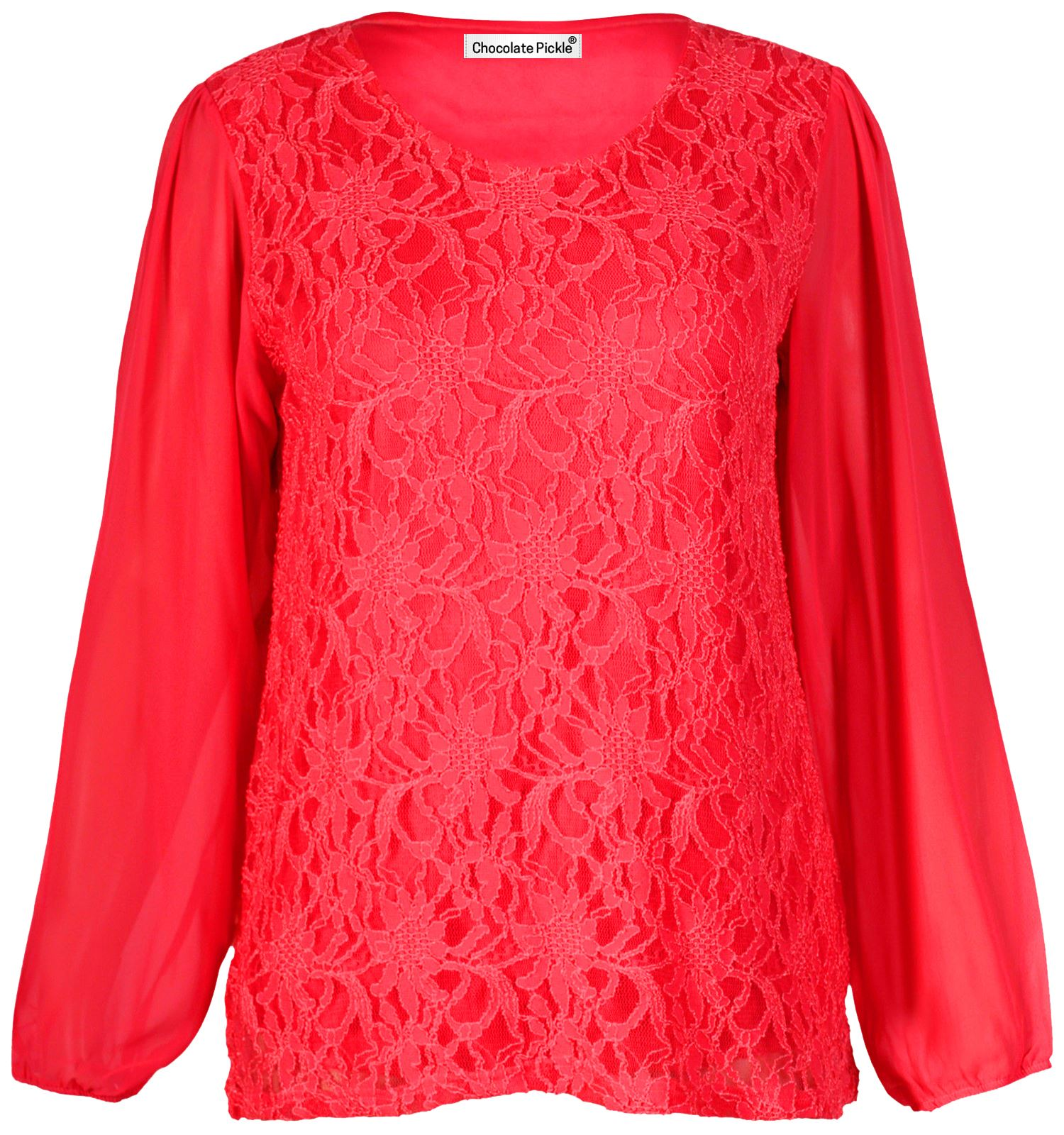 New Women's Plus Size Chiffon Sleeve Floral Lace Lined Tunic Tops 12-22