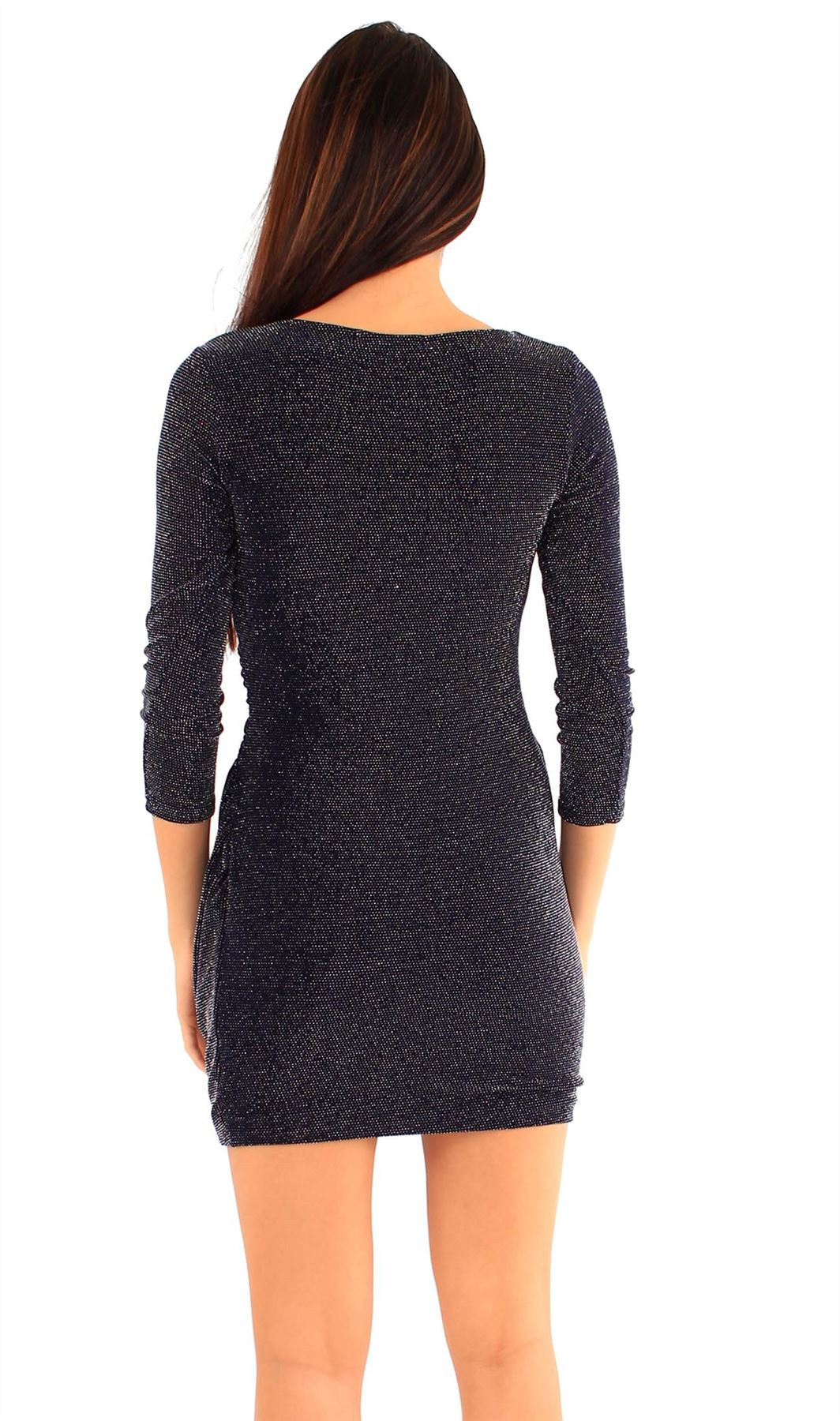 New Ladies Wrap Over Glitter ¾ Sleeve mini Going out Dress 8-14