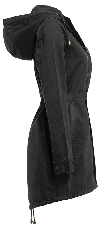 New Ladies Hooded Cotton Twill Parka Jacket Fish Tail Winter Coat 4-20