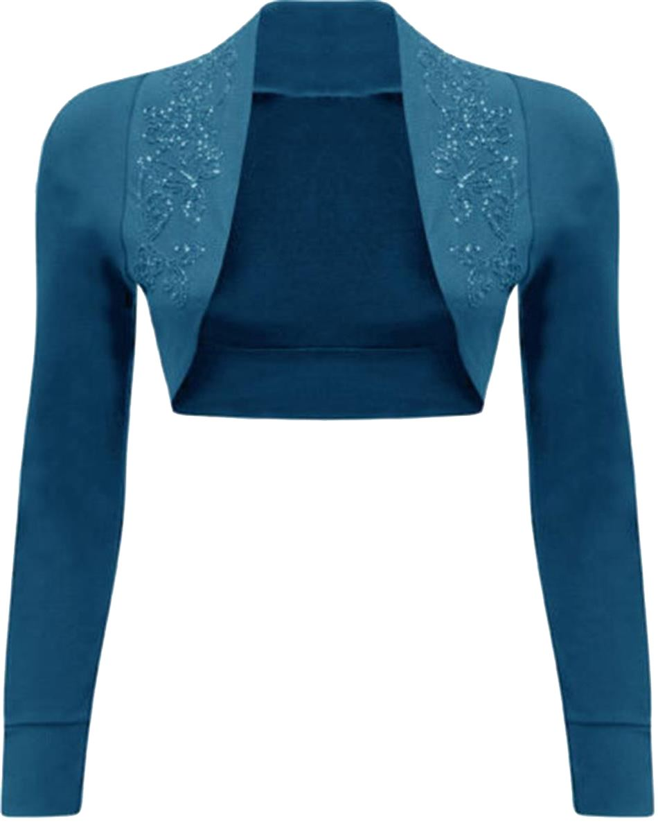 New Womens Long Sleeve Beaded Sequin Design Bolero Shrug Cardigan ...