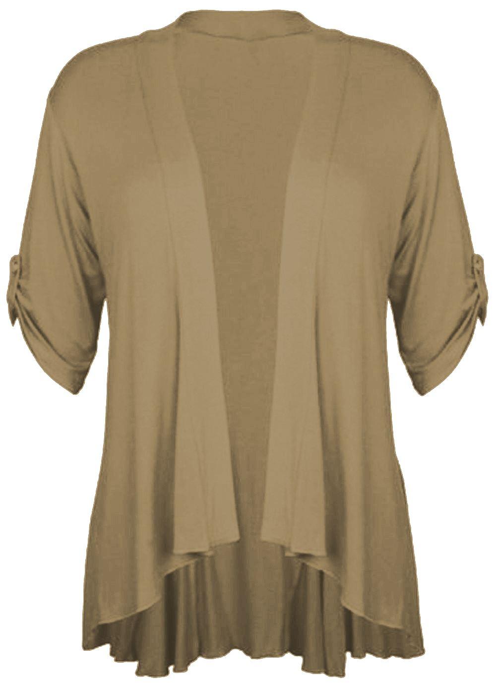 Ladies plus Size Turn Up Sleeve Waterfall Cardigan 3/4 Sleeve ...