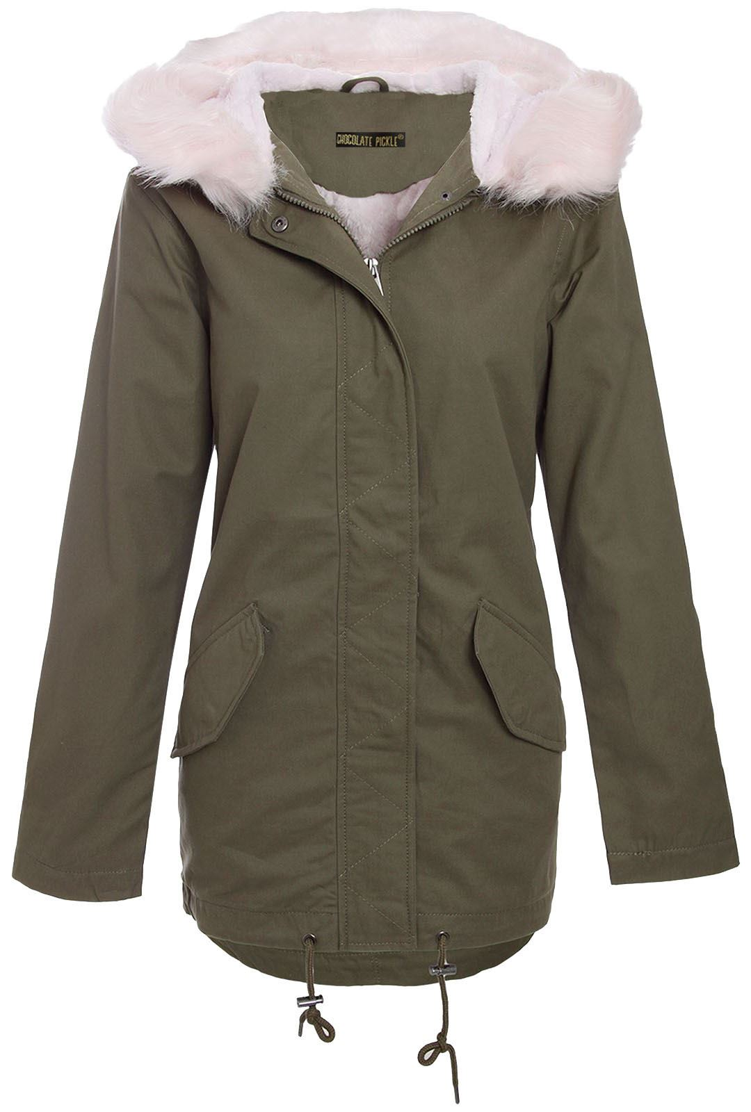 New Ladies Pale Pink Fur Sherpa Hooded Parka Coat Winter ...
