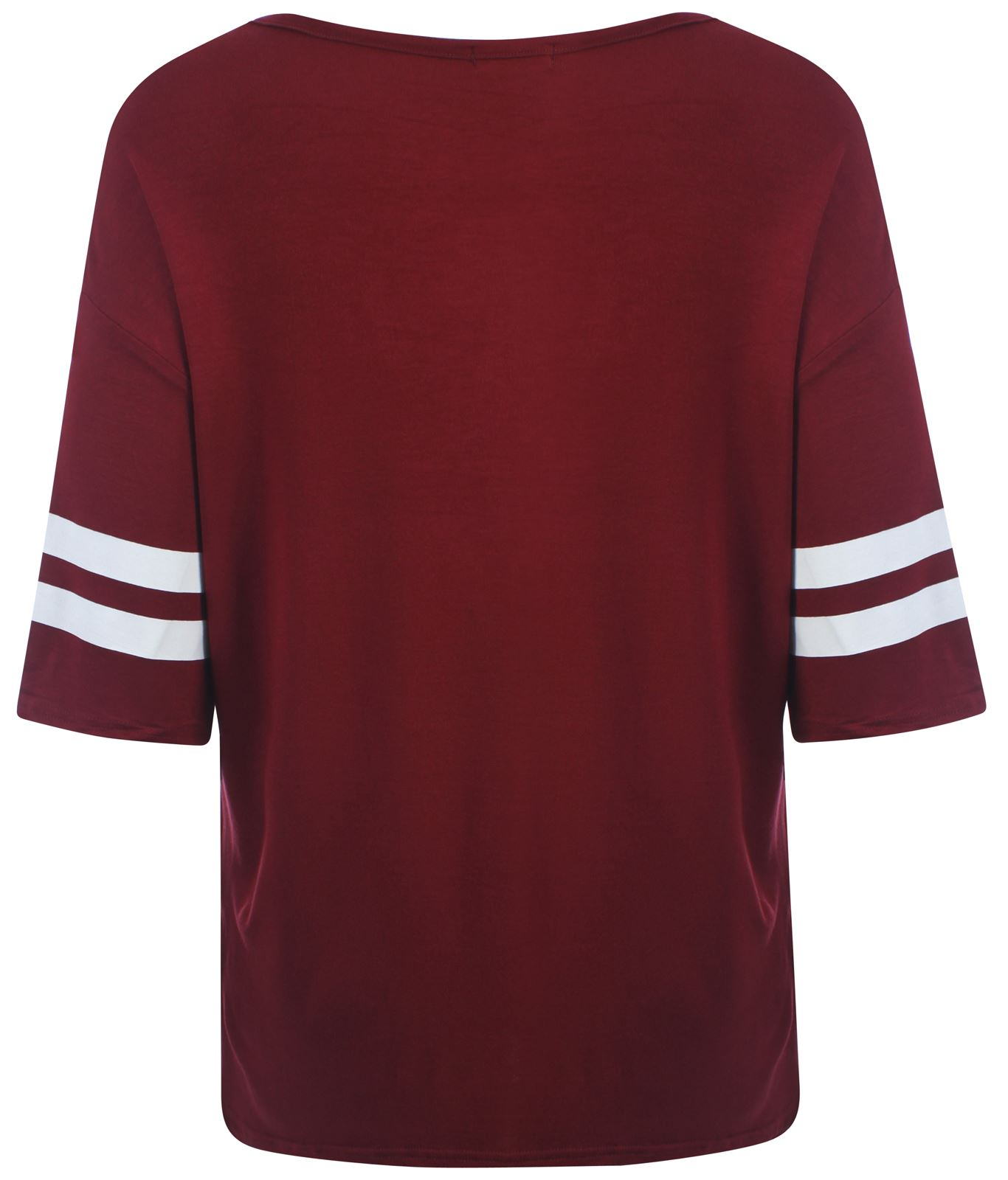 bdc1632988 New Womens Plus Size Varsity Stripe Baggy T-Shirts Oversize Tops 12-26