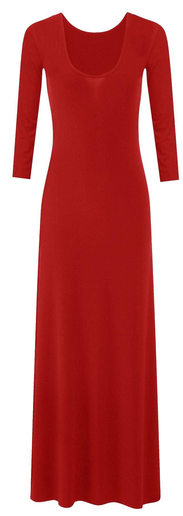 New Ladies Plus Size 3/4 Sleeve Flared Long Maxi Dress 8-26