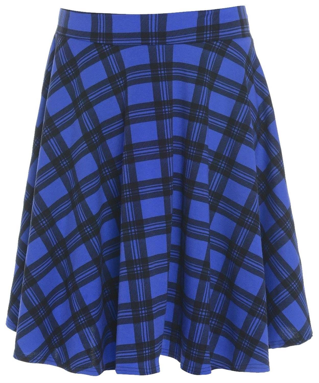 new blue tartan flared skater skirt 10 24 ebay