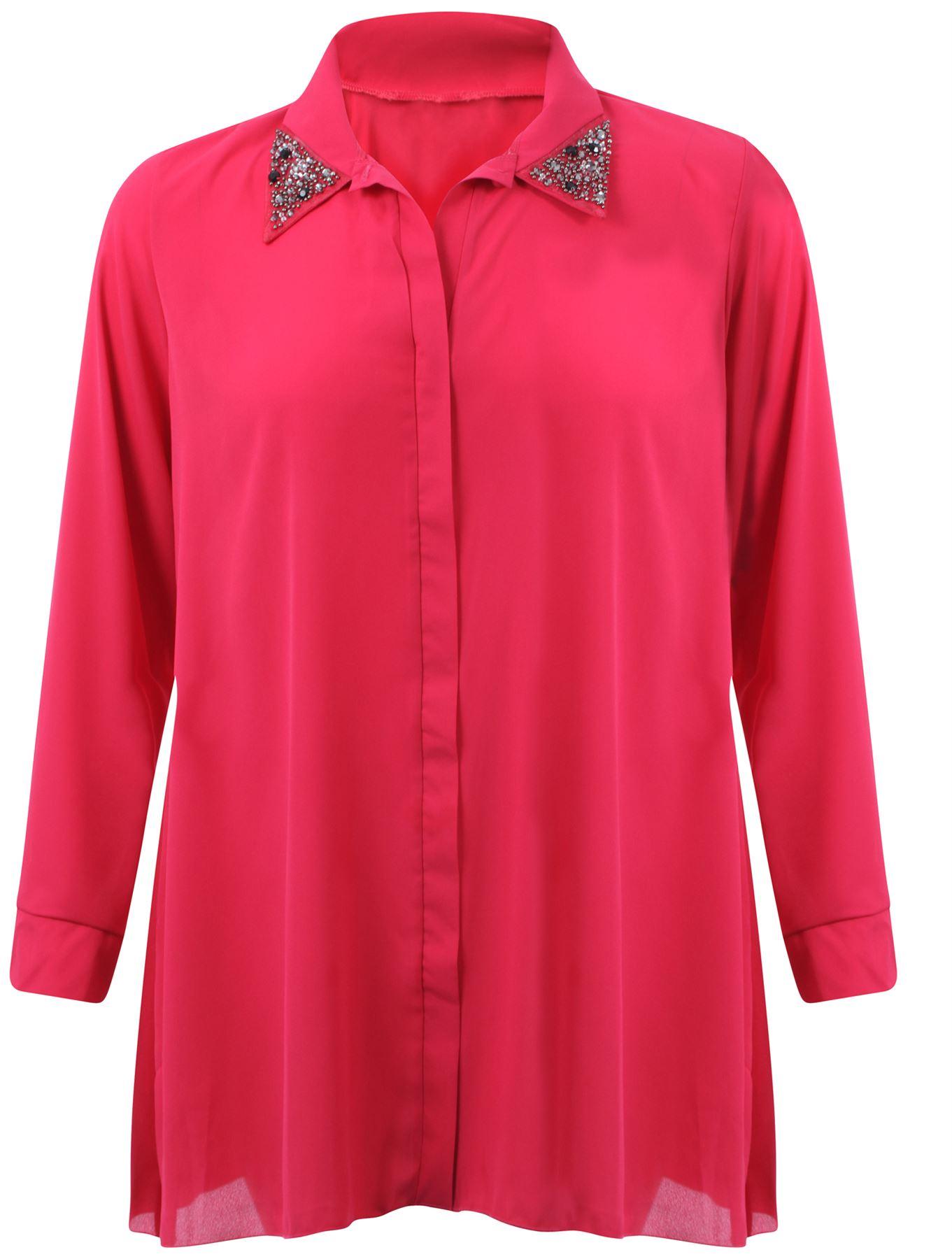 Ladies Plus Size Chiffon Shirt Dress Collar Studded