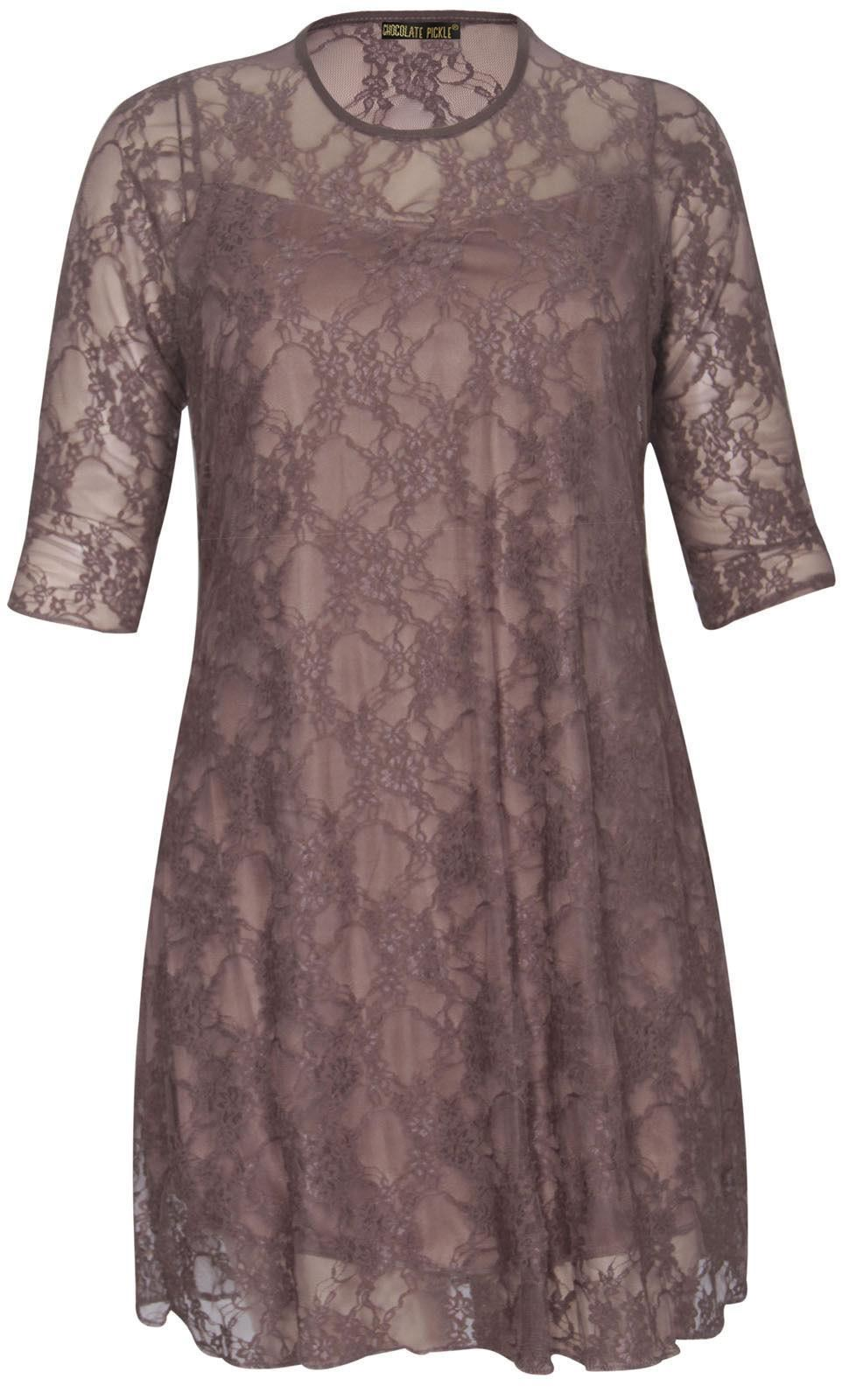 Nouveau-Femmes-Plus-Size-Floral-Lace-manches-3-4-Robe-droite-42-56
