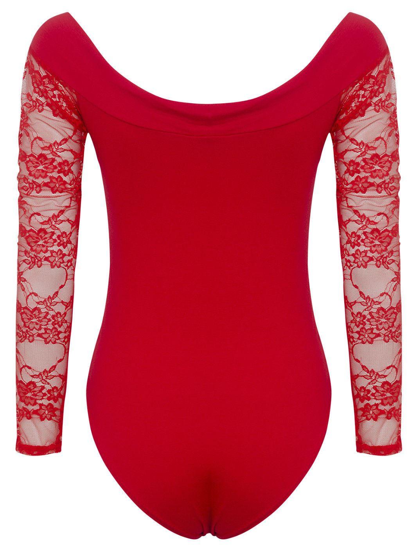 New Womens Off Shoulder Leotard Tops Lace Sleeve Bodysuit 8-14