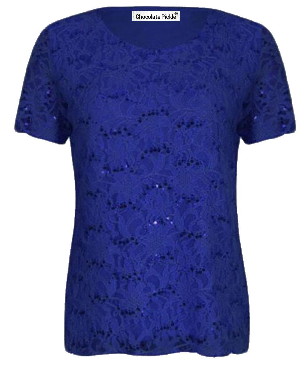New Womens Short Sleeve Floral Lace Sequin Detail Tunic