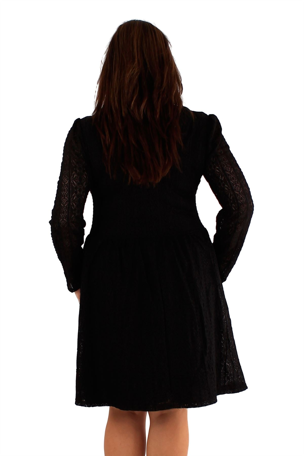 aa043826a17a New Womens plus size lace Lined Full Sleeve Party Skater Dress 18-24 ...