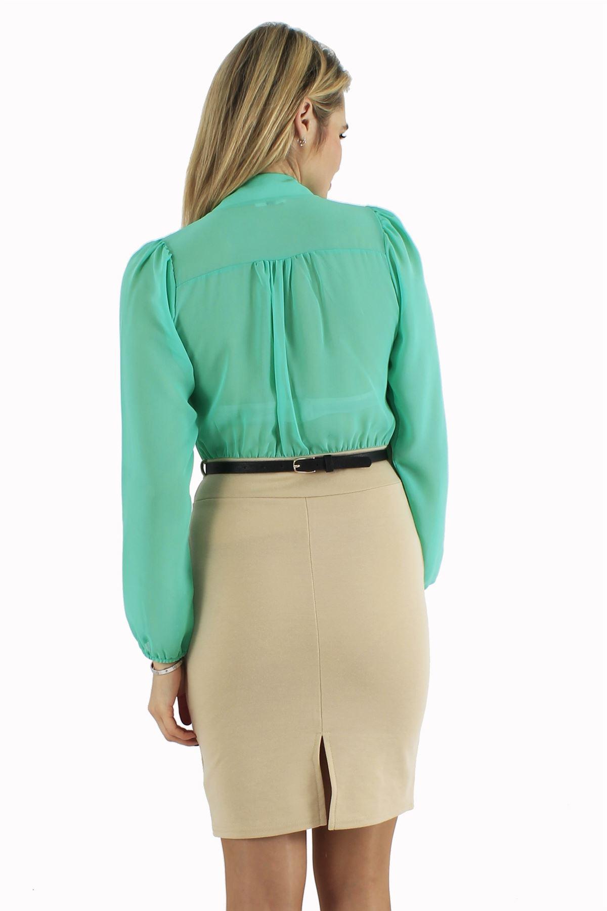 Ladies Cut Back Pencil Skirt Chiffon Gold Belated Two Tone ...