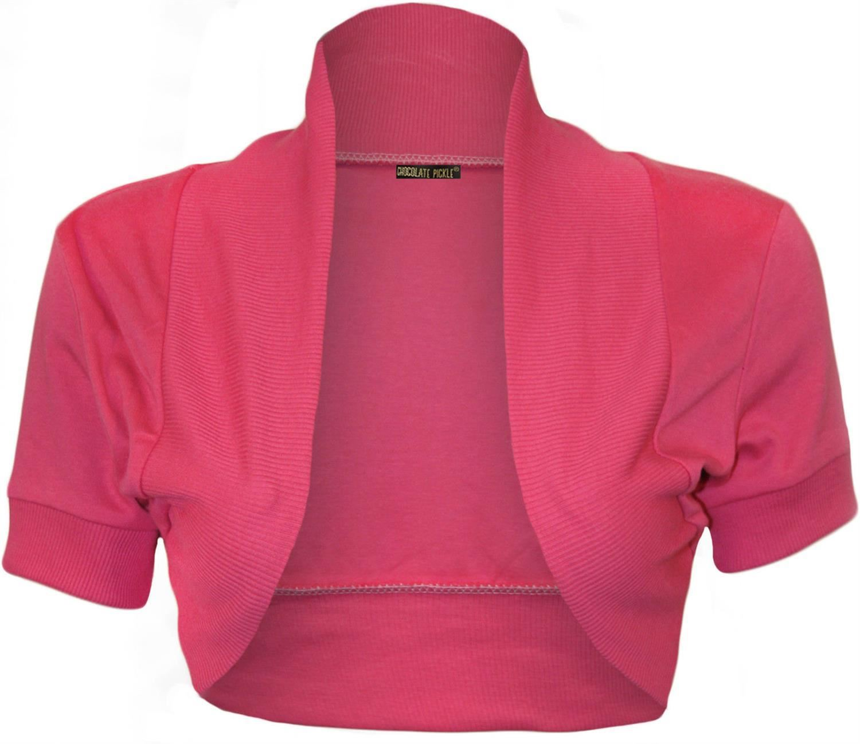 New Ladies Short Sleeve Plain Shrugs Crop Cardigan Bolero Tops 12 ...