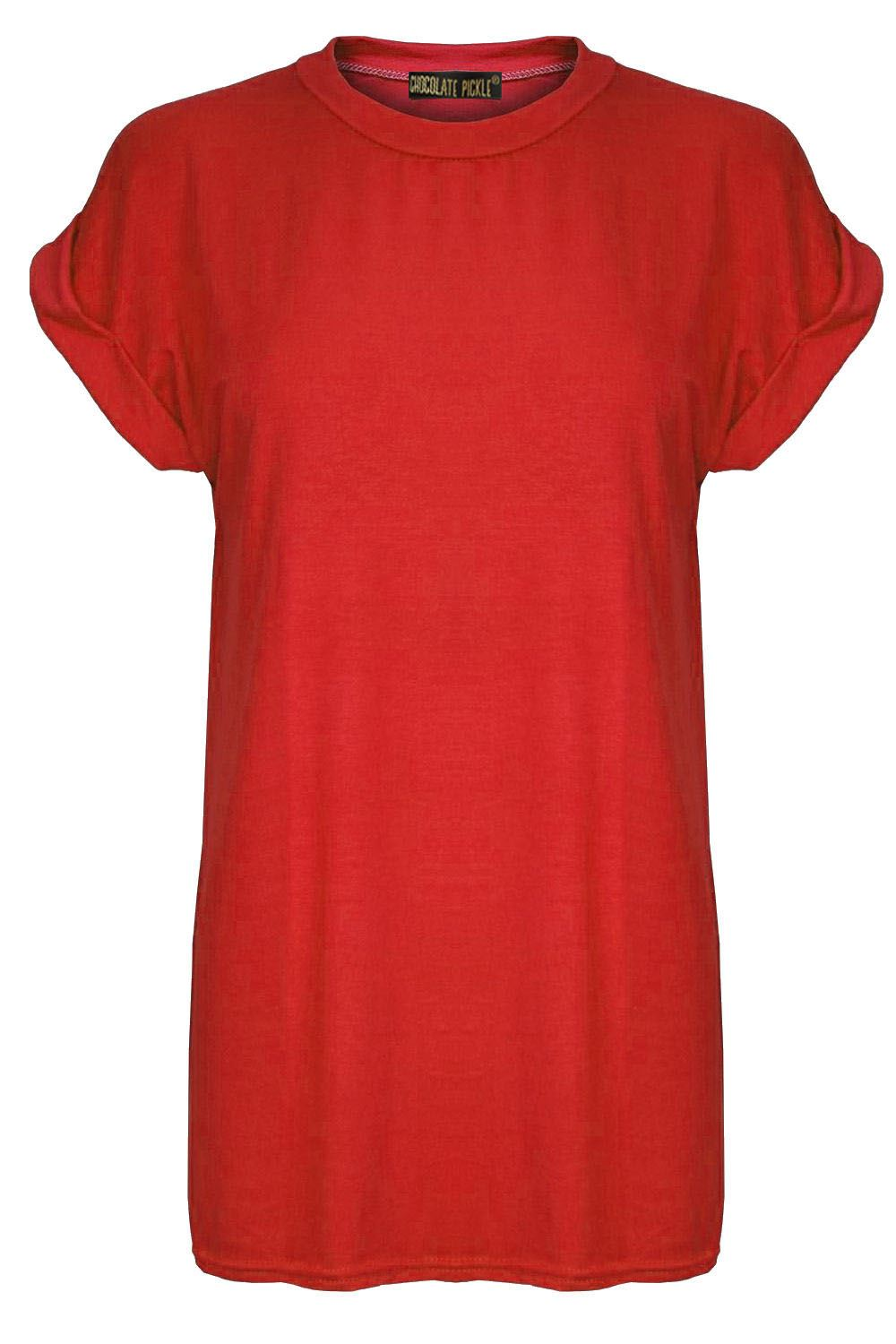 New-Ladies-Stretchy-Baggy-Oversized-Turn-Up-Short-Sleeve-T-Shirt-Tops-8-22