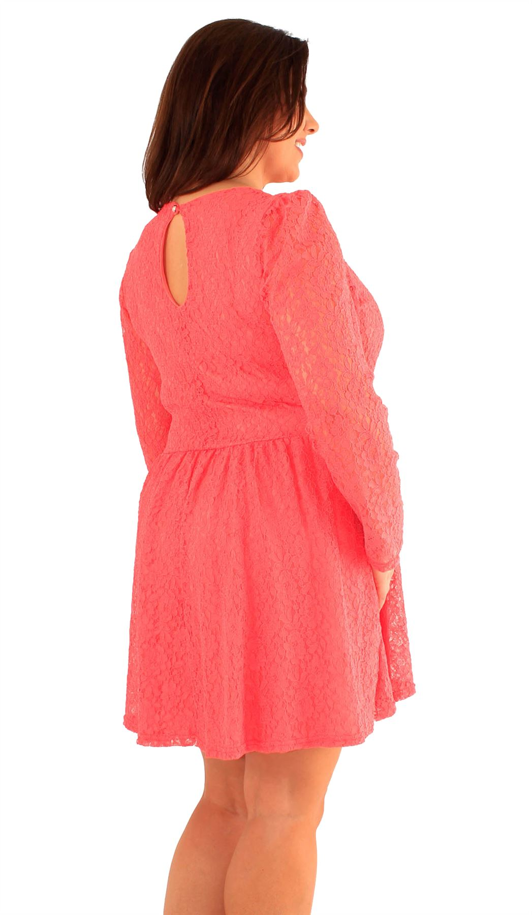 long sleeve lace skater dress plus size images