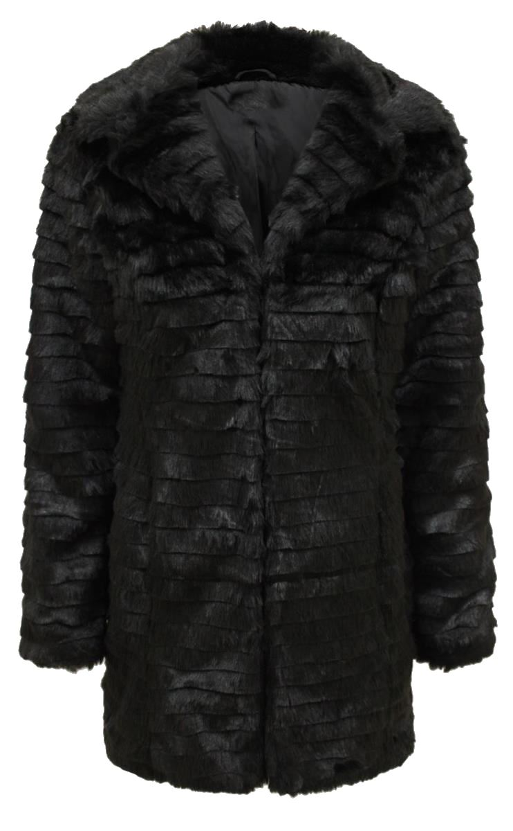 New Womens Plus Size Long Winter Faux Fur Jacket X-Mass