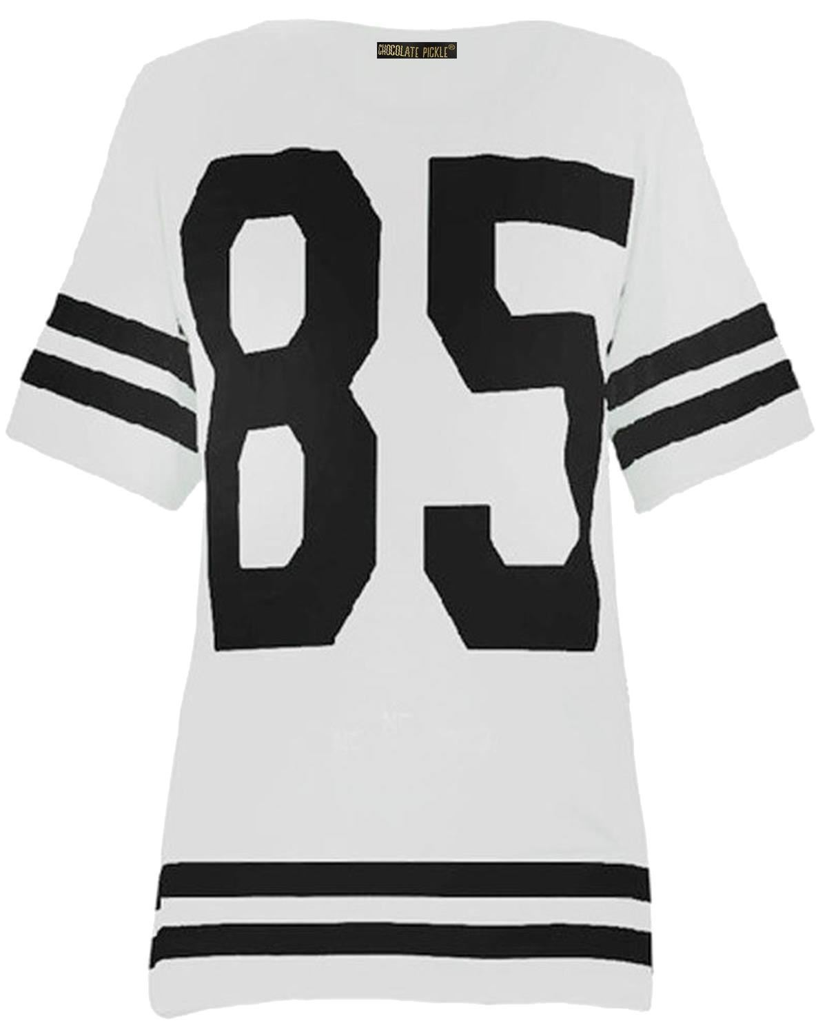 New-Womens-Plus-Size-Number-Printed-White-Varsity-Stripe-T-Shirts-12-26