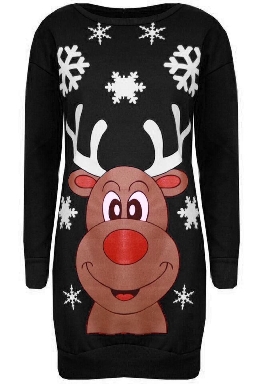 Neue Damen Rudolph Gesicht Schneeflocken Gestrickt Sweatshirt Winter ...