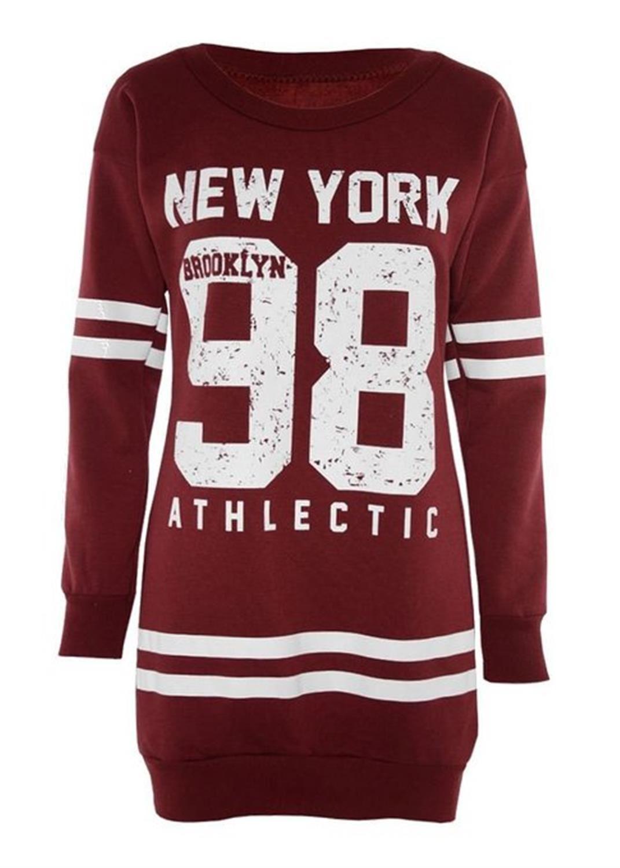 New Ladies Oversized Brooklyn Newyork Bulls Sweatshirt Jumpers Tops 8-22