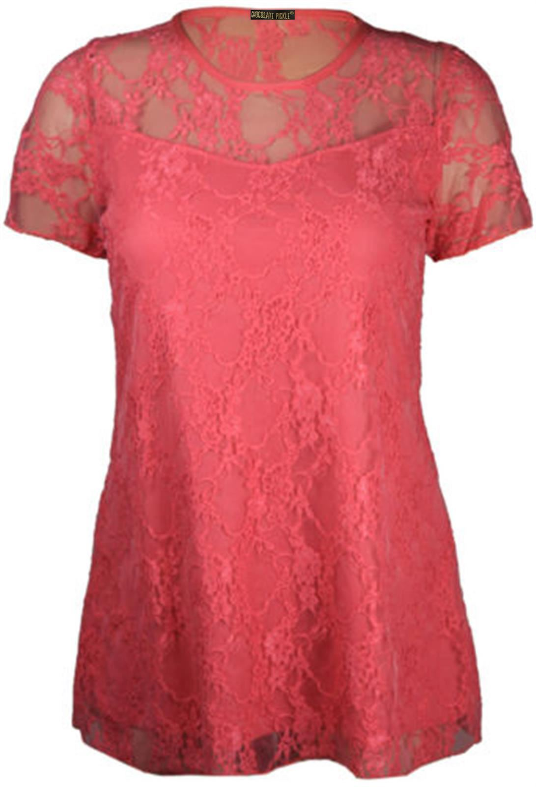 New-Women-s-Plus-Size-Short-Sleeve-Floral-Contrast-Lace-Tunic-Tops-14-28