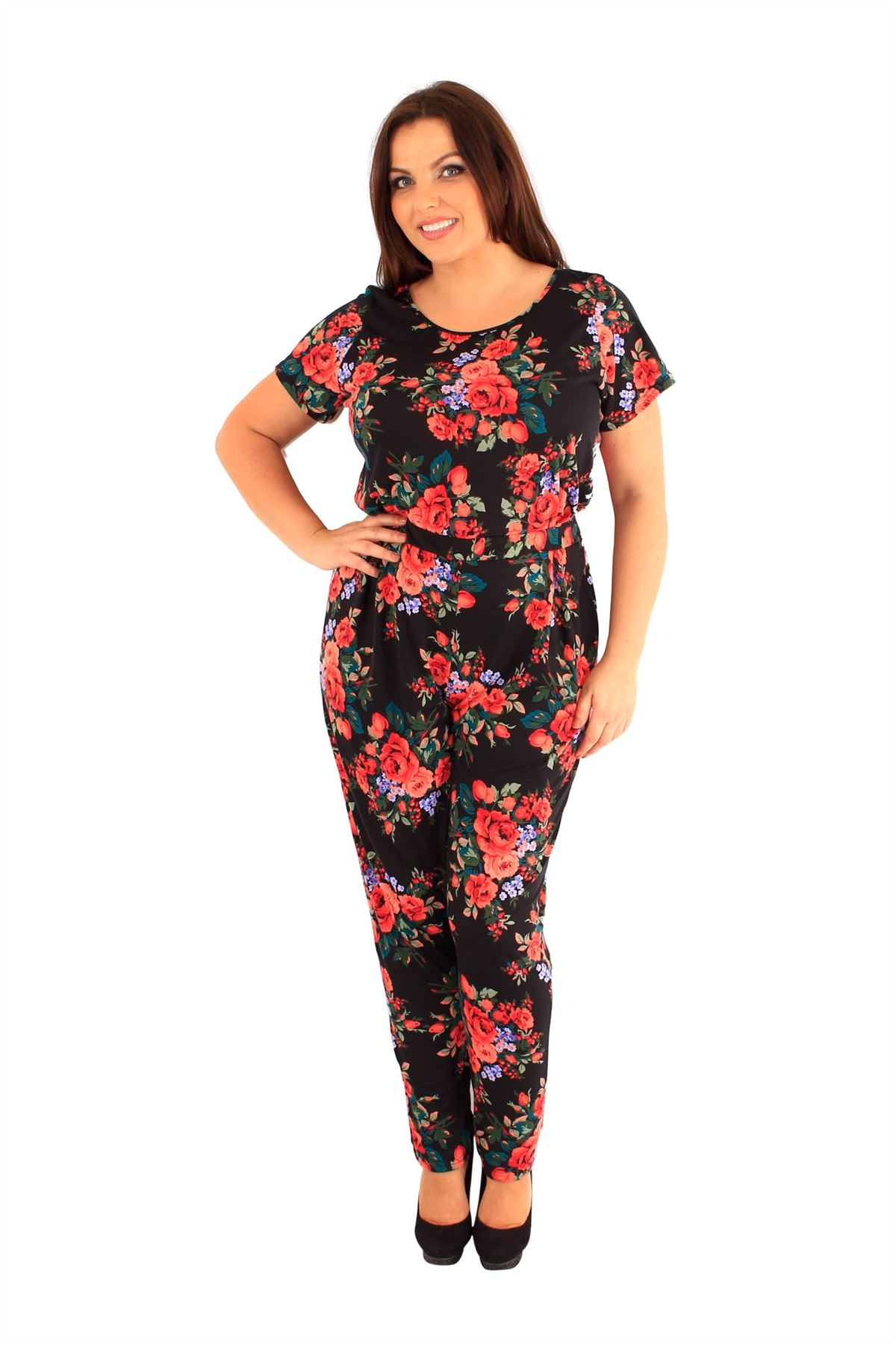 6adf3d0726 New Womens Plus Size Multi Color Rose Floral Print Jumpsuits Long ...