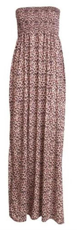 New Womens Plus Size Leopard Print Elasticated Summer Boob Tube Maxi